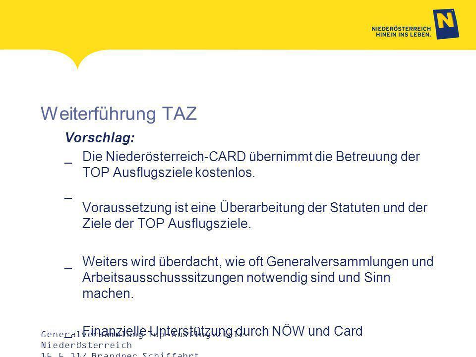 Weiterführung TAZ Vorschlag: _Die Niederösterreich-CARD übernimmt die Betreuung der TOP Ausflugsziele kostenlos.