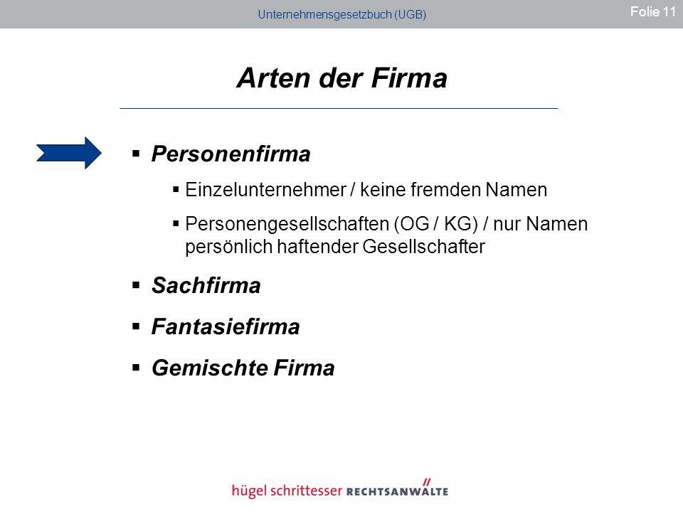 Unternehmensgesetzbuch (UGB) Arten der Firma Folie 11 Personenfirma Einzelunternehmer / keine fremden Namen Personengesellschaften (OG / KG) / nur Namen persönlich haftender Gesellschafter Sachfirma Fantasiefirma Gemischte Firma