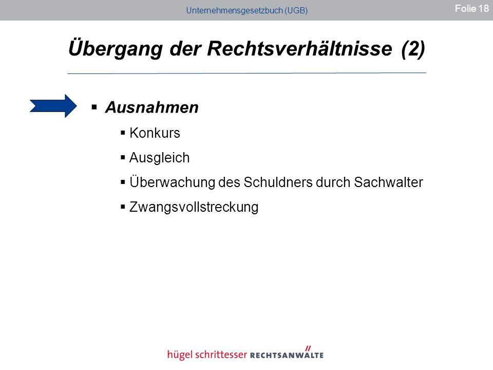 Unternehmensgesetzbuch (UGB) Übergang der Rechtsverhältnisse (2) Folie 18 Ausnahmen Konkurs Ausgleich Überwachung des Schuldners durch Sachwalter Zwangsvollstreckung