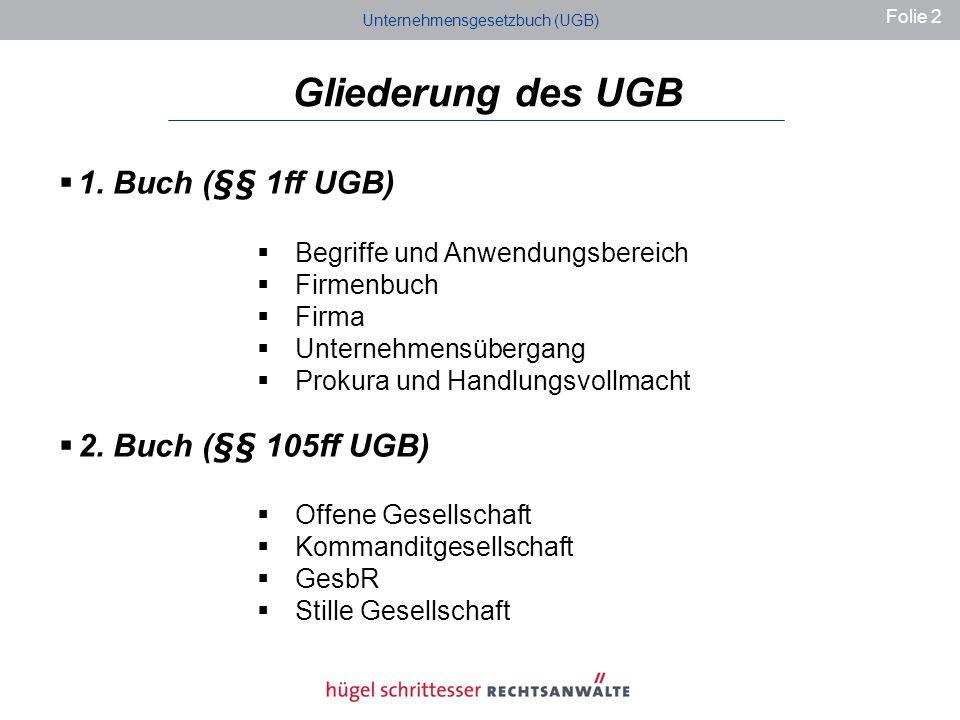 Gliederung des UGB 1.