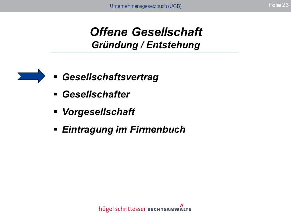 Unternehmensgesetzbuch (UGB) Offene Gesellschaft Gründung / Entstehung Folie 23 Gesellschaftsvertrag Gesellschafter Vorgesellschaft Eintragung im Firmenbuch