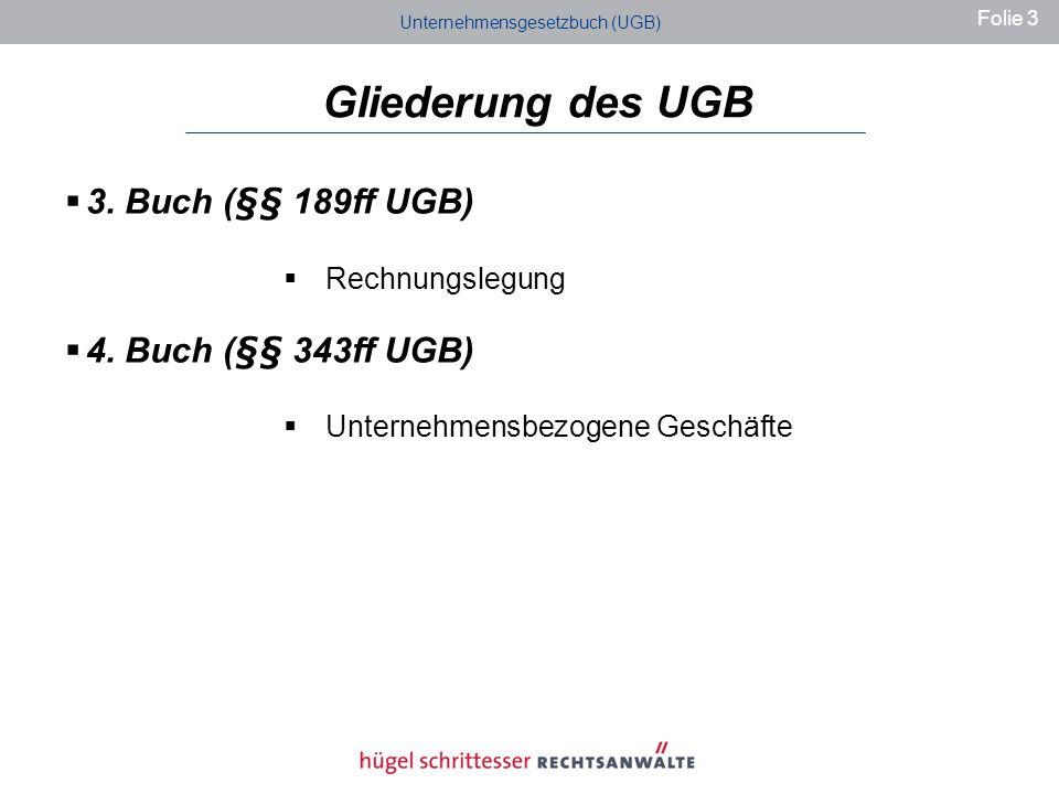 Gliederung des UGB 3.Buch (§§ 189ff UGB) Rechnungslegung 4.