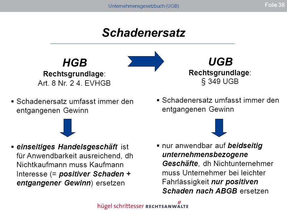 Unternehmensgesetzbuch (UGB) Schadenersatz Folie 38 HGB Rechtsgrundlage: Art.