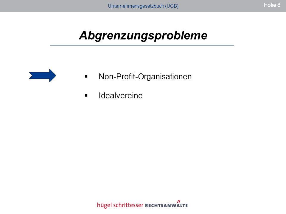 Abgrenzungsprobleme Non-Profit-Organisationen Idealvereine Unternehmensgesetzbuch (UGB) Folie 8
