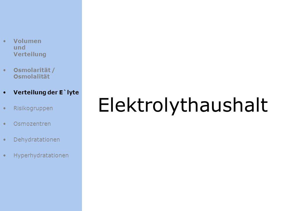 Volumen und Verteilung Osmolarität / Osmolalität Verteilung der E`lyte Risikogruppen Osmozentren Dehydratationen Hyperhydratationen Elektrolythaushalt