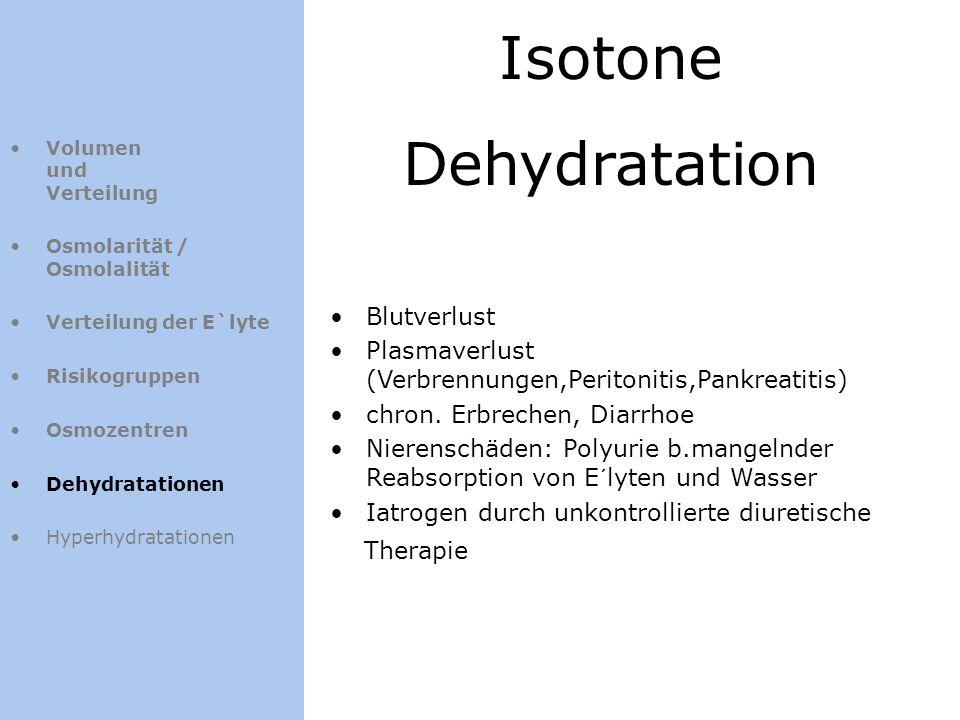 Volumen und Verteilung Osmolarität / Osmolalität Verteilung der E`lyte Risikogruppen Osmozentren Dehydratationen Hyperhydratationen Isotone Dehydratat