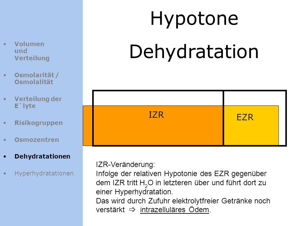Hypotone Dehydratation IZR EZR Volumen und Verteilung Osmolarität / Osmolalität Verteilung der E`lyte Risikogruppen Osmozentren Dehydratationen Hyperh