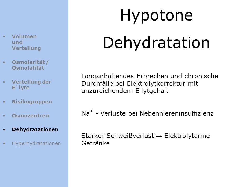 Hypotone Dehydratation Volumen und Verteilung Osmolarität / Osmolalität Verteilung der E`lyte Risikogruppen Osmozentren Dehydratationen Hyperhydratati