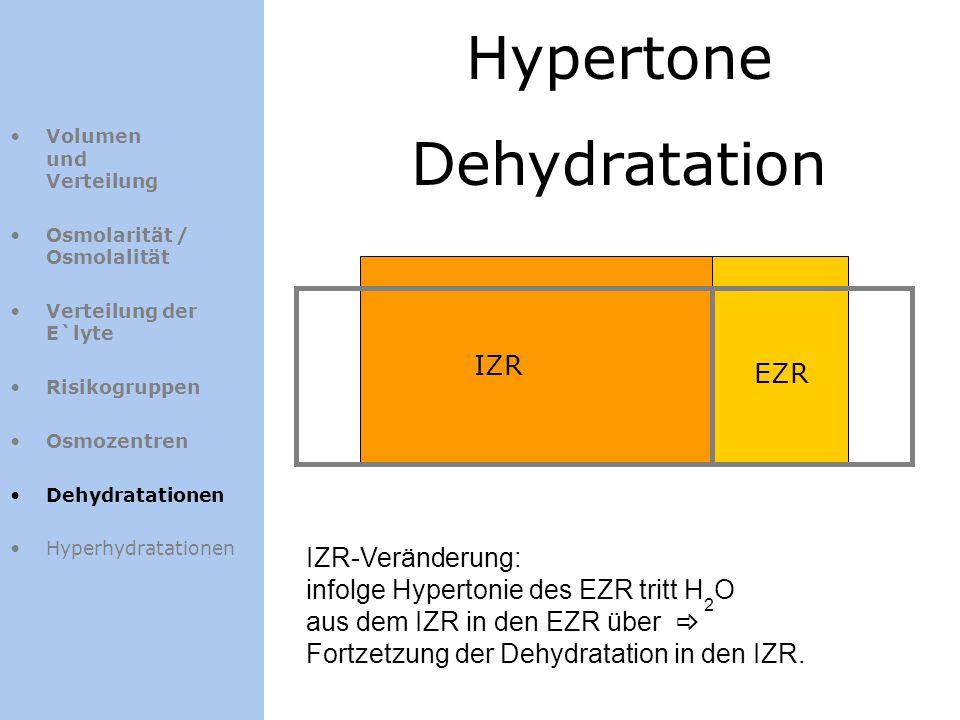 Hypertone Dehydratation IZR EZR Volumen und Verteilung Osmolarität / Osmolalität Verteilung der E`lyte Risikogruppen Osmozentren Dehydratationen Hyper