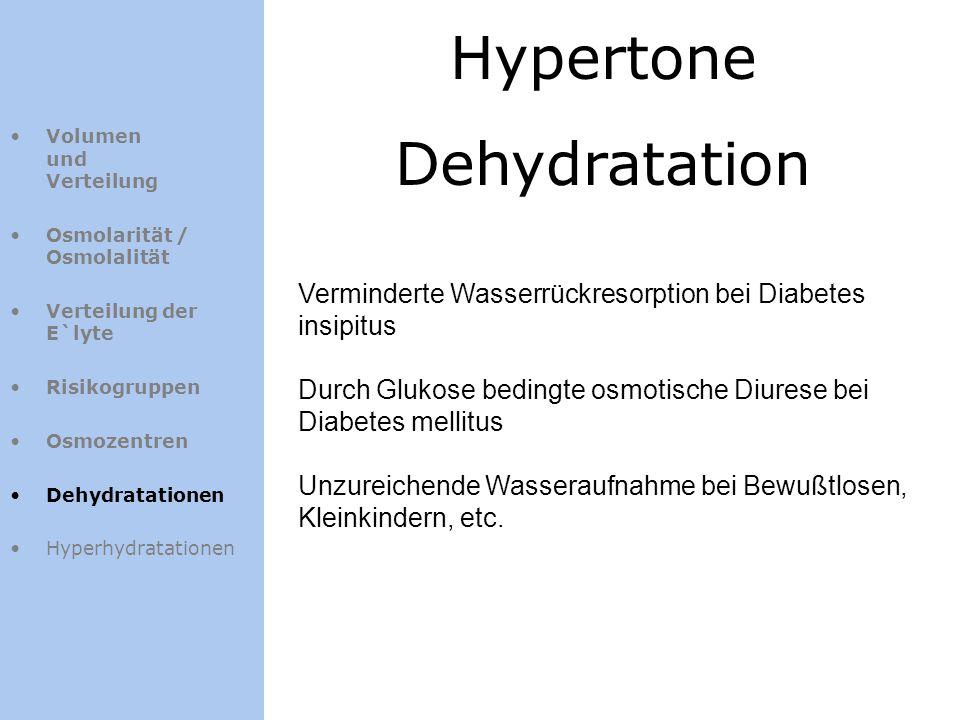 Hypertone Dehydratation Volumen und Verteilung Osmolarität / Osmolalität Verteilung der E`lyte Risikogruppen Osmozentren Dehydratationen Hyperhydratat
