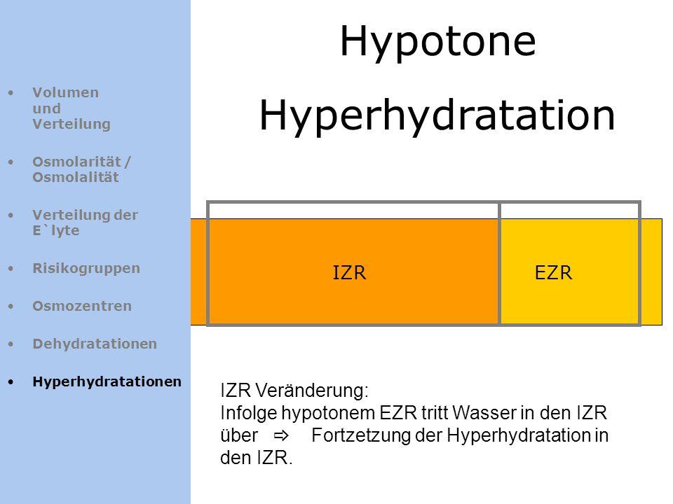 Hypotone Hyperhydratation IZREZR Volumen und Verteilung Osmolarität / Osmolalität Verteilung der E`lyte Risikogruppen Osmozentren Dehydratationen Hype