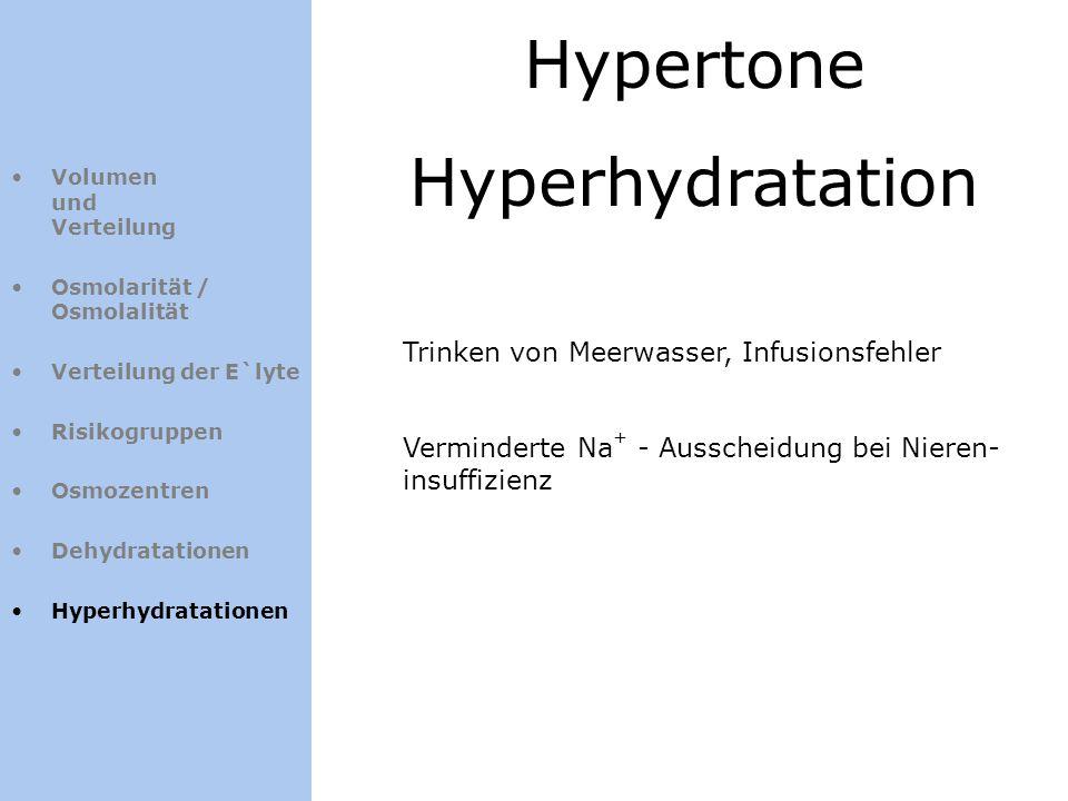 Hypertone Hyperhydratation Volumen und Verteilung Osmolarität / Osmolalität Verteilung der E`lyte Risikogruppen Osmozentren Dehydratationen Hyperhydra