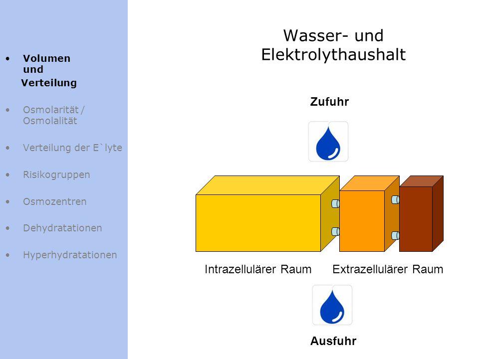 Wasser- und Elektrolythaushalt Volumen und Verteilung Osmolarität / Osmolalität Verteilung der E`lyte Risikogruppen Osmozentren Dehydratationen Hyperh
