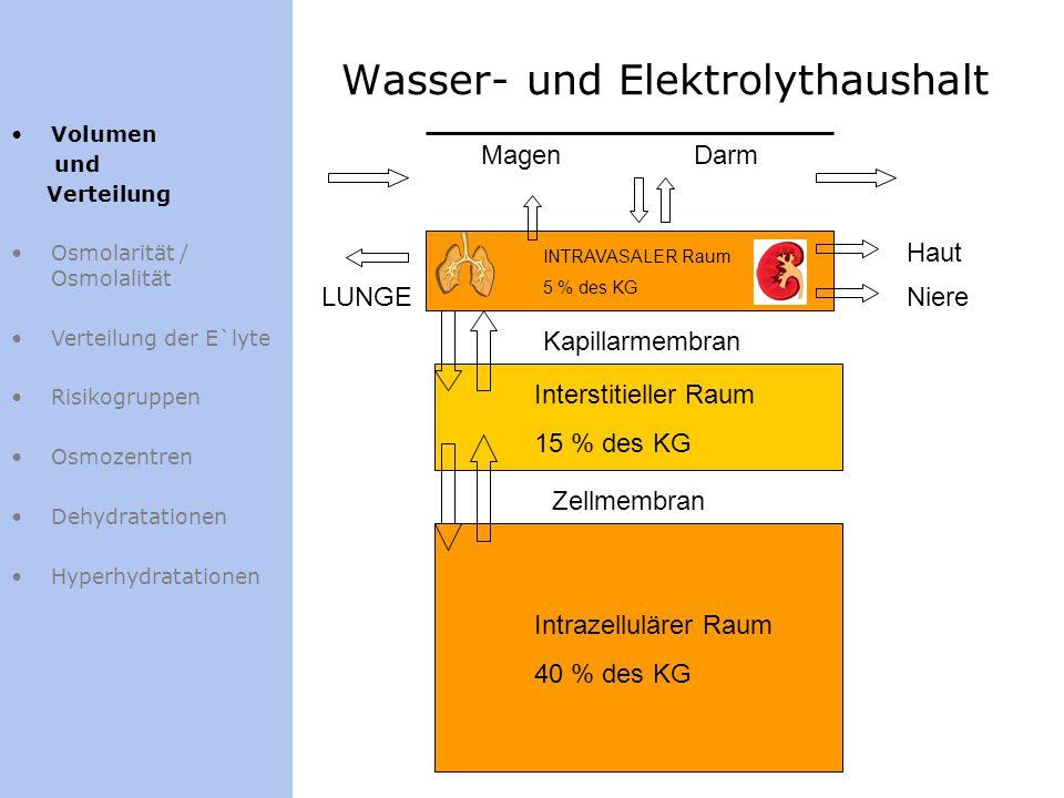 Wasser- und Elektrolythaushalt Zellmembran Kapillarmembran Niere Haut DarmMagen Intrazellulärer Raum 40 % des KG Interstitieller Raum 15 % des KG LUNG