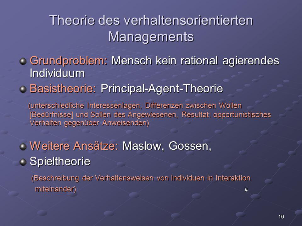 10 Theorie des verhaltensorientierten Managements Grundproblem: Mensch kein rational agierendes Individuum Basistheorie: Principal-Agent-Theorie (unte