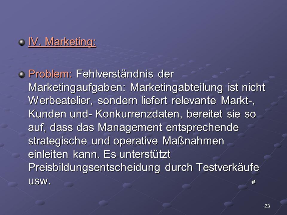 23 IV. Marketing: Problem: Fehlverständnis der Marketingaufgaben: Marketingabteilung ist nicht Werbeatelier, sondern liefert relevante Markt-, Kunden