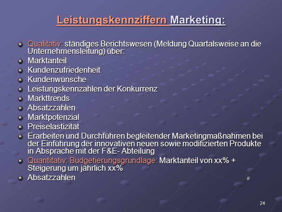 24 Leistungskennziffern Marketing: Qualitativ: ständiges Berichtswesen (Meldung Quartalsweise an die Unternehmensleitung) über: MarktanteilKundenzufri