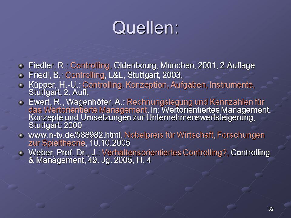 32 Quellen: Fiedler, R.: Controlling, Oldenbourg, München, 2001, 2.Auflage Friedl, B.: Controlling, L&L, Stuttgart, 2003, Küpper, H.-U.: Controlling.