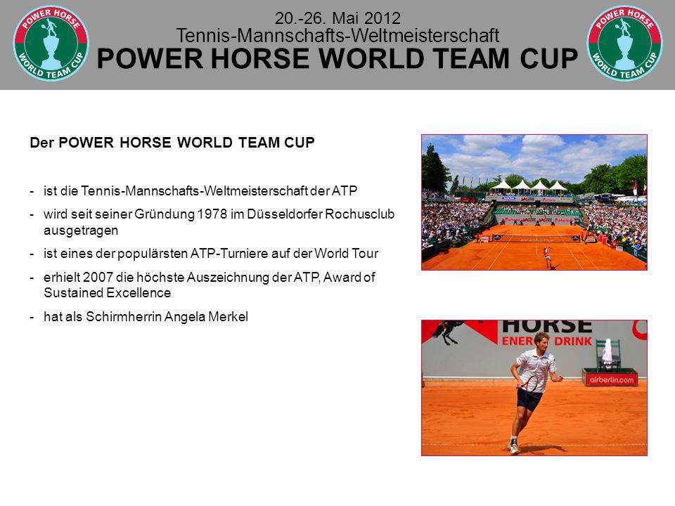 Der POWER HORSE WORLD TEAM CUP - ist die Tennis-Mannschafts-Weltmeisterschaft der ATP - wird seit seiner Gründung 1978 im Düsseldorfer Rochusclub ausgetragen - ist eines der populärsten ATP-Turniere auf der World Tour -erhielt 2007 die höchste Auszeichnung der ATP, Award of Sustained Excellence - hat als Schirmherrin Angela Merkel 20.-26.