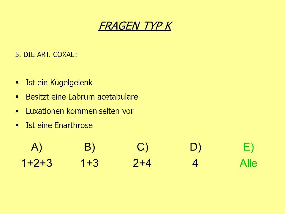 FRAGEN TYP K 5. DIE ART. COXAE: Ist ein Kugelgelenk Besitzt eine Labrum acetabulare Luxationen kommen selten vor Ist eine Enarthrose A)B)C)D)E) 1+2+31