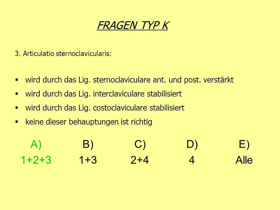 FRAGEN TYP K 3. Articulatio sternoclavicularis: wird durch das Lig. sternoclaviculare ant. und post. verstärkt wird durch das Lig. interclaviculare st