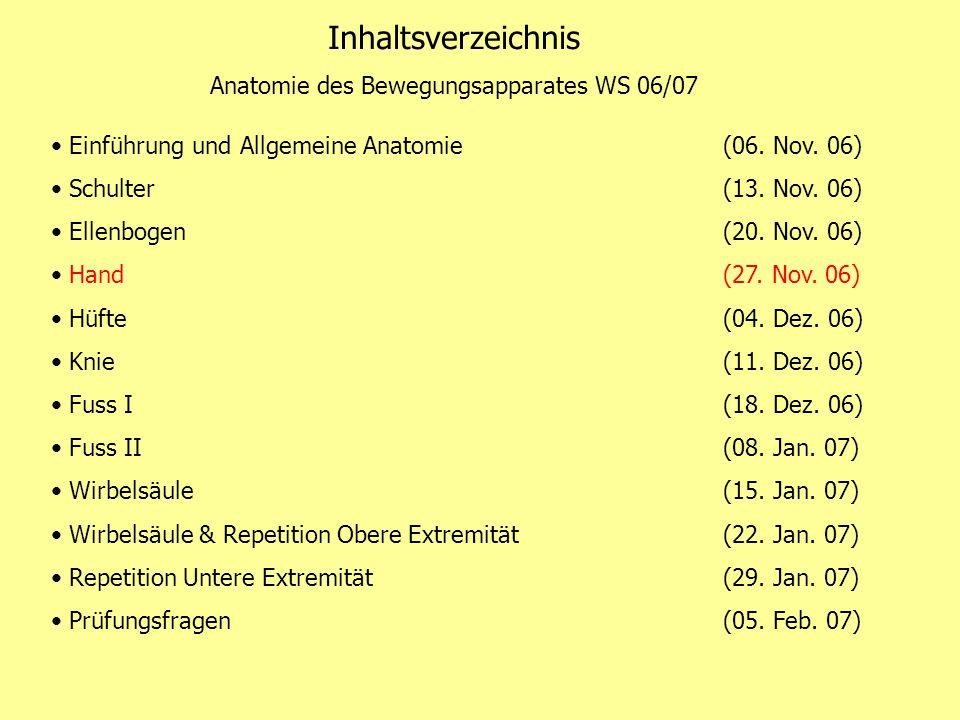 Inhaltsverzeichnis Anatomie des Bewegungsapparates WS 06/07 Einführung und Allgemeine Anatomie (06. Nov. 06) Schulter(13. Nov. 06) Ellenbogen(20. Nov.