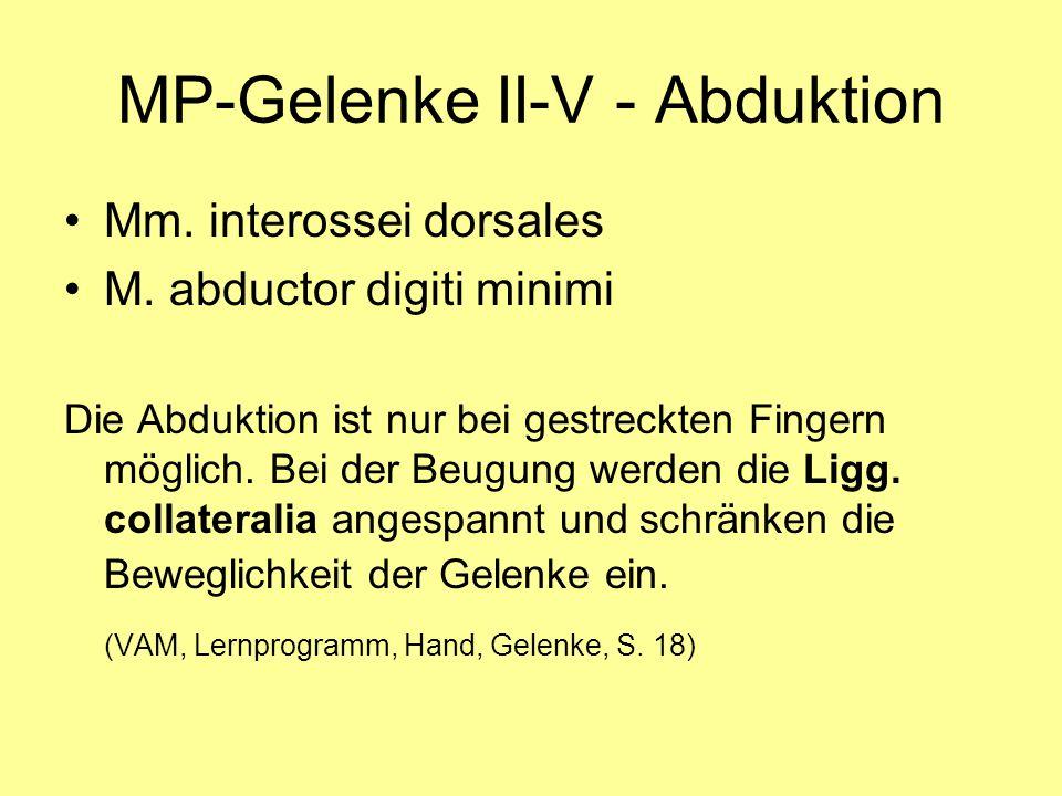 MP-Gelenke II-V - Abduktion Mm. interossei dorsales M. abductor digiti minimi Die Abduktion ist nur bei gestreckten Fingern möglich. Bei der Beugung w