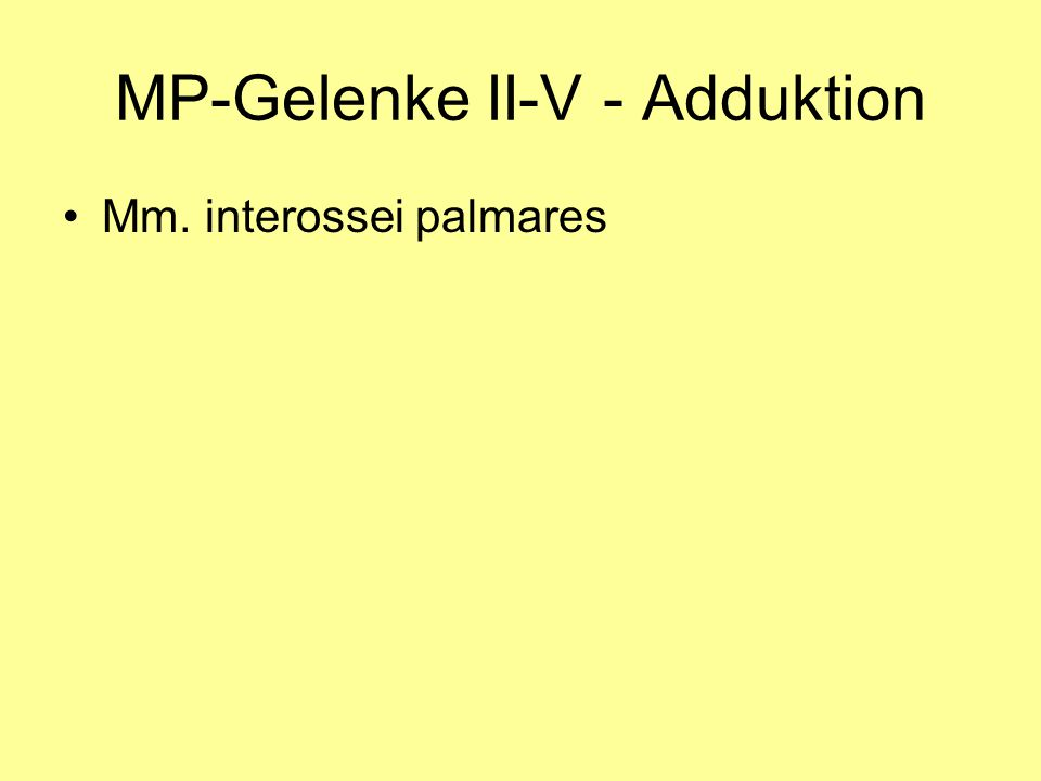 MP-Gelenke II-V - Adduktion Mm. interossei palmares