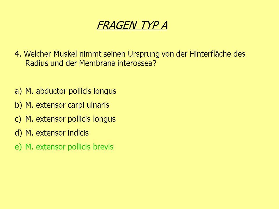 FRAGEN TYP A 4. Welcher Muskel nimmt seinen Ursprung von der Hinterfläche des Radius und der Membrana interossea? a)M. abductor pollicis longus b)M. e