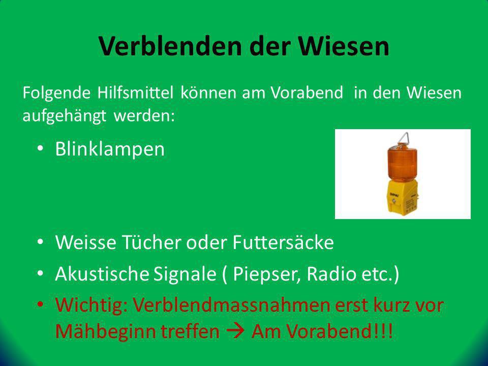 Blinklampen Weisse Tücher oder Futtersäcke Akustische Signale ( Piepser, Radio etc.) Wichtig: Verblendmassnahmen erst kurz vor Mähbeginn treffen Am Vorabend!!.