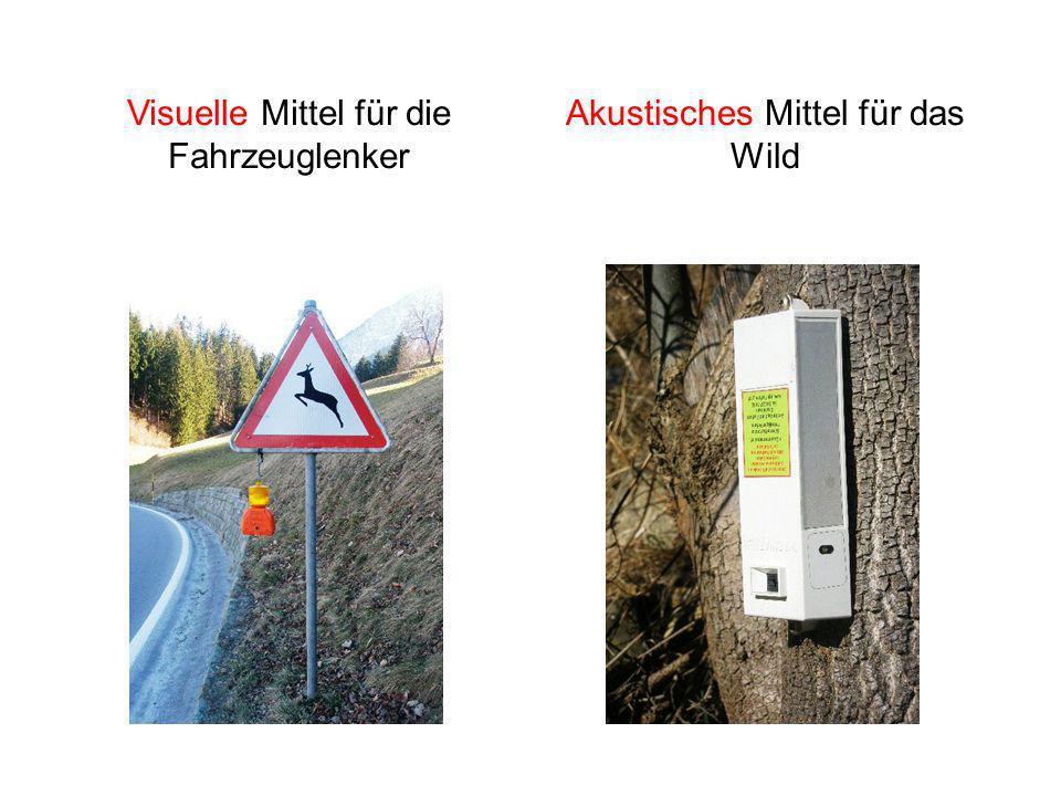 Visuelle Mittel für die Fahrzeuglenker Akustisches Mittel für das Wild