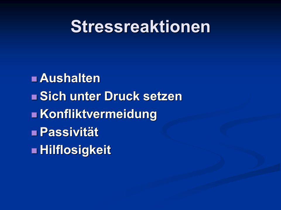Stressreaktionen Aushalten Aushalten Sich unter Druck setzen Sich unter Druck setzen Konfliktvermeidung Konfliktvermeidung Passivität Passivität Hilflosigkeit Hilflosigkeit