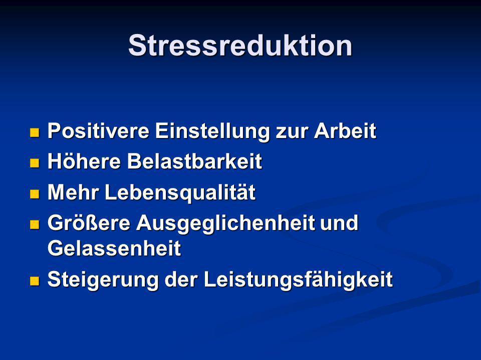 Stressreduktion Positivere Einstellung zur Arbeit Positivere Einstellung zur Arbeit Höhere Belastbarkeit Höhere Belastbarkeit Mehr Lebensqualität Mehr