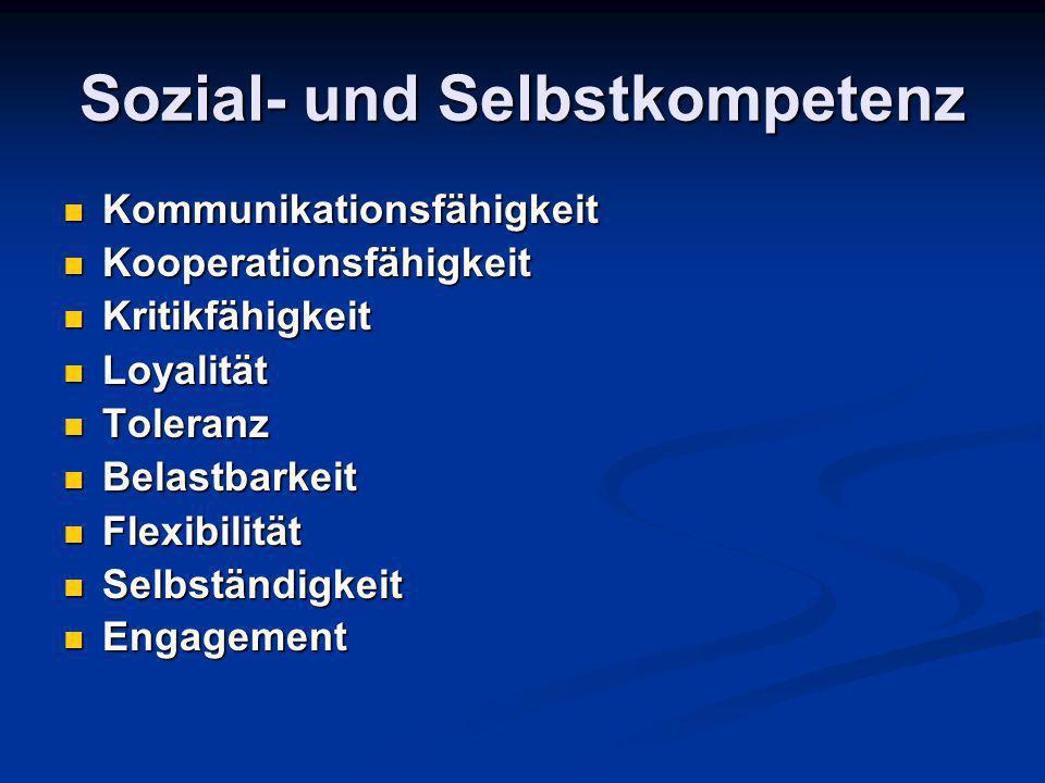 Sozial- und Selbstkompetenz Kommunikationsfähigkeit Kommunikationsfähigkeit Kooperationsfähigkeit Kooperationsfähigkeit Kritikfähigkeit Kritikfähigkei