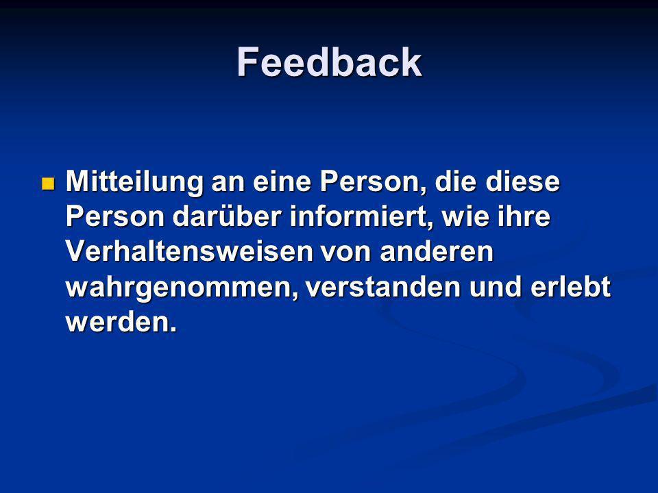 Feedback Mitteilung an eine Person, die diese Person darüber informiert, wie ihre Verhaltensweisen von anderen wahrgenommen, verstanden und erlebt wer