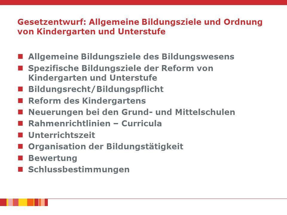 Gesetzentwurf: Allgemeine Bildungsziele und Ordnung von Kindergarten und Unterstufe Allgemeine Bildungsziele des Bildungswesens Spezifische Bildungszi