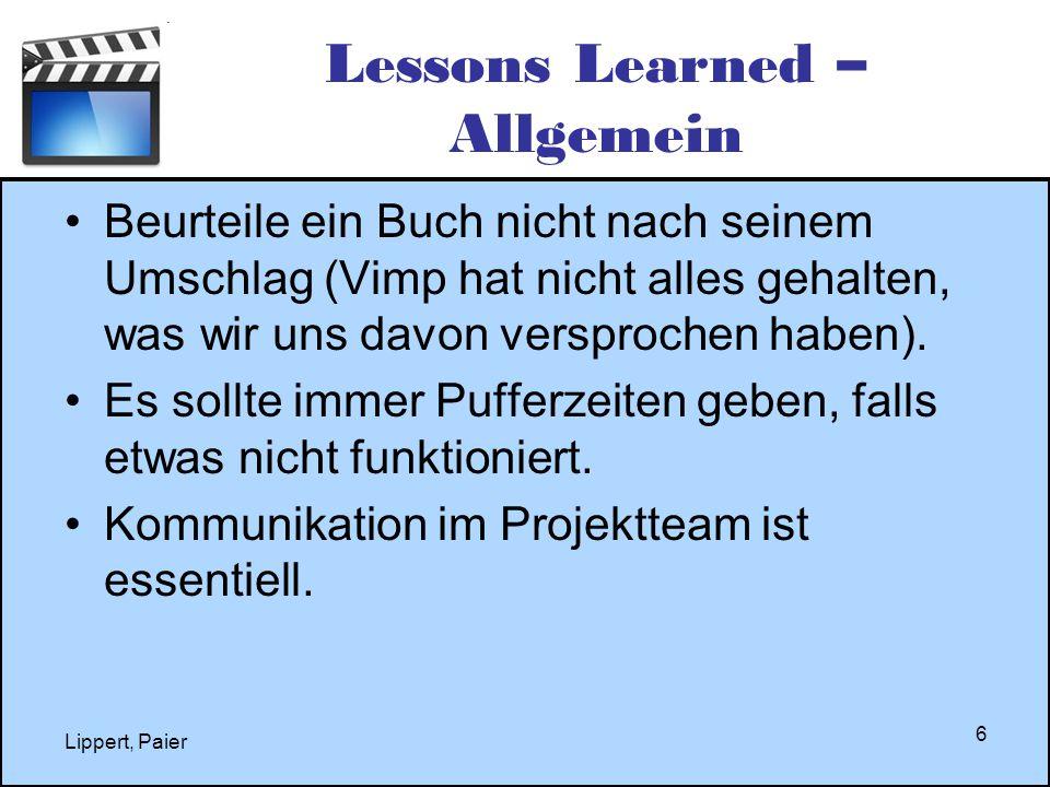 Lippert, Paier 6 Lessons Learned – Allgemein Beurteile ein Buch nicht nach seinem Umschlag (Vimp hat nicht alles gehalten, was wir uns davon versproch