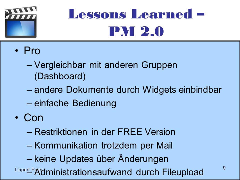 Lessons Learned – PM 2.0 Pro –Vergleichbar mit anderen Gruppen (Dashboard) –andere Dokumente durch Widgets einbindbar –einfache Bedienung Con –Restrik