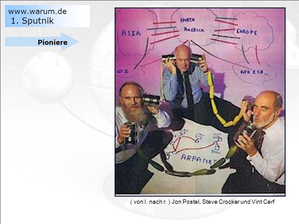 Pioniere ( von l. nach r. ) Jon Postel, Steve Crocker und Vint Cerf sdafa