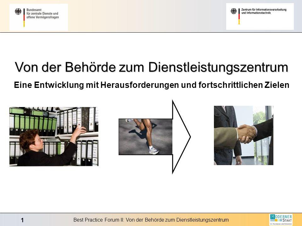 1 Best Practice Forum II: Von der Behörde zum Dienstleistungszentrum Von der Behörde zum Dienstleistungszentrum Eine Entwicklung mit Herausforderungen