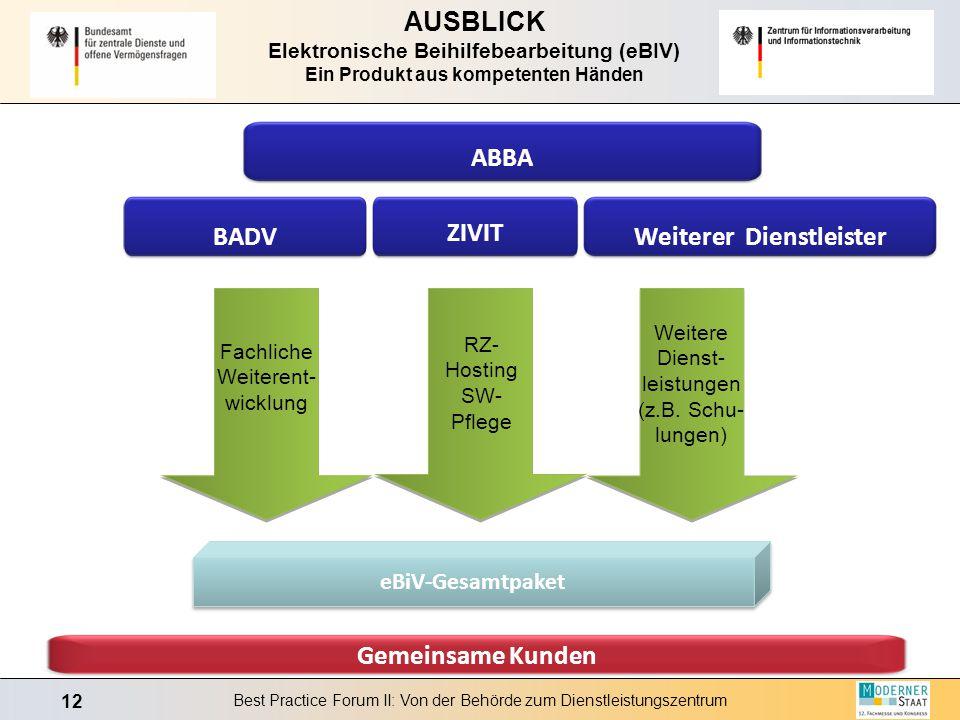 12 Best Practice Forum II: Von der Behörde zum Dienstleistungszentrum AUSBLICK Elektronische Beihilfebearbeitung (eBIV) Ein Produkt aus kompetenten Hä