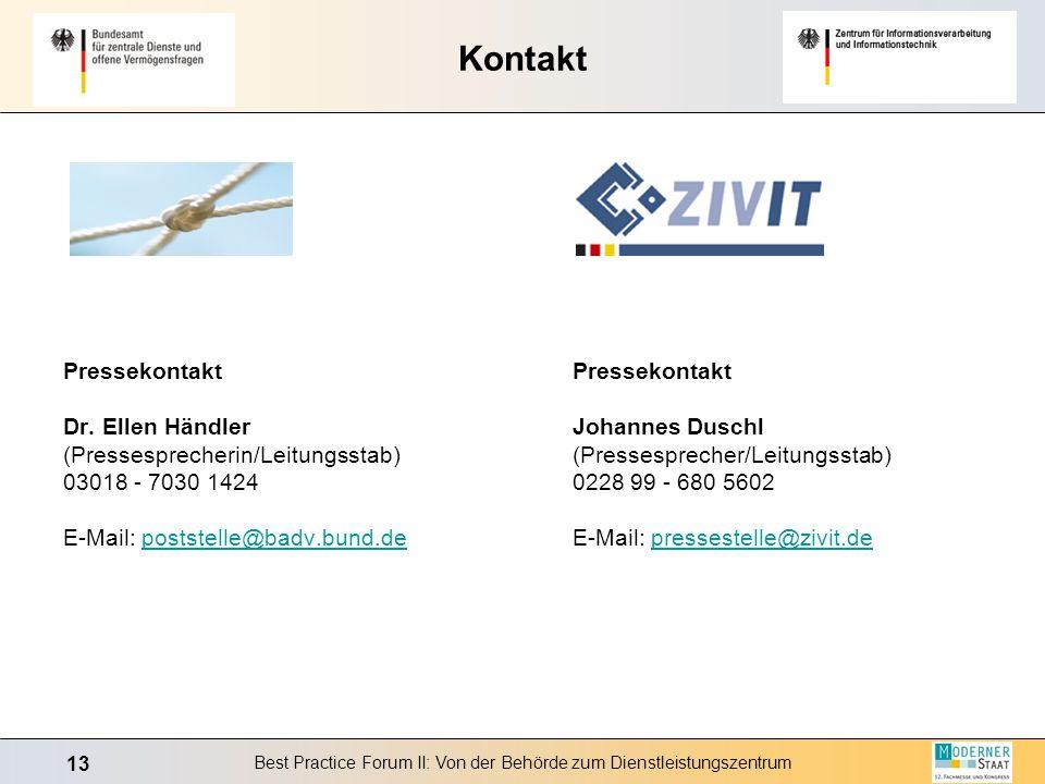 13 Best Practice Forum II: Von der Behörde zum Dienstleistungszentrum Kontakt Pressekontakt Johannes Duschl (Pressesprecher/Leitungsstab) 0228 99 - 68