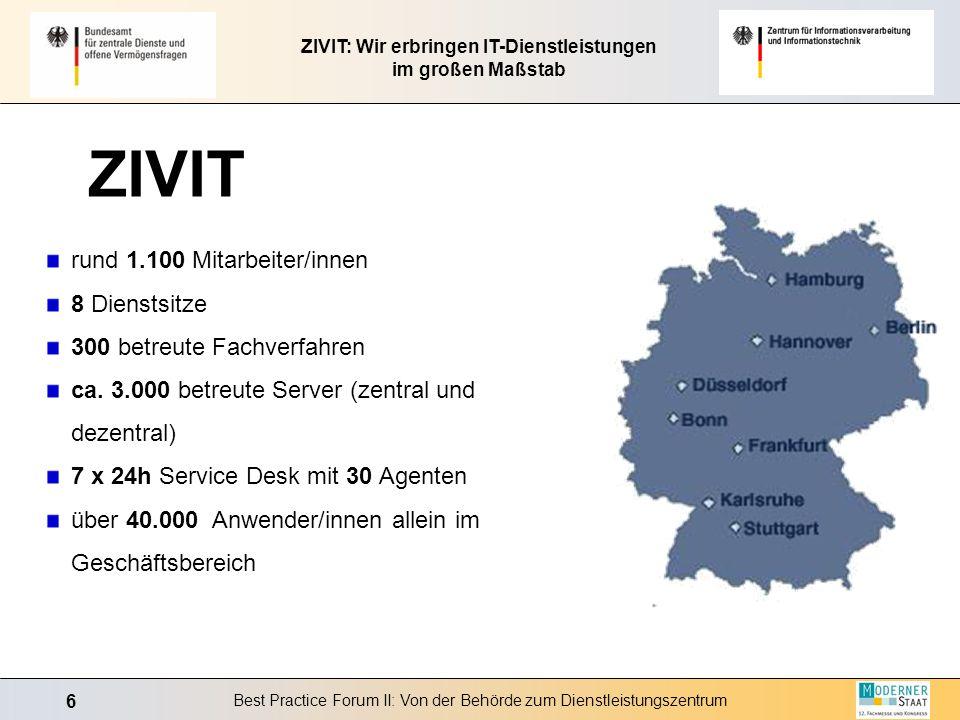 6 Best Practice Forum II: Von der Behörde zum Dienstleistungszentrum ZIVIT: Wir erbringen IT-Dienstleistungen im großen Maßstab rund 1.100 Mitarbeiter