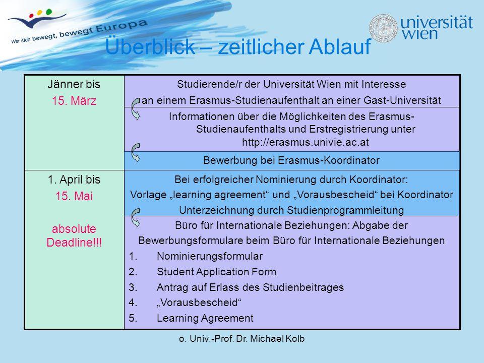 o. Univ.-Prof. Dr. Michael Kolb Überblick – zeitlicher Ablauf Büro für Internationale Beziehungen: Abgabe der Bewerbungsformulare beim Büro für Intern