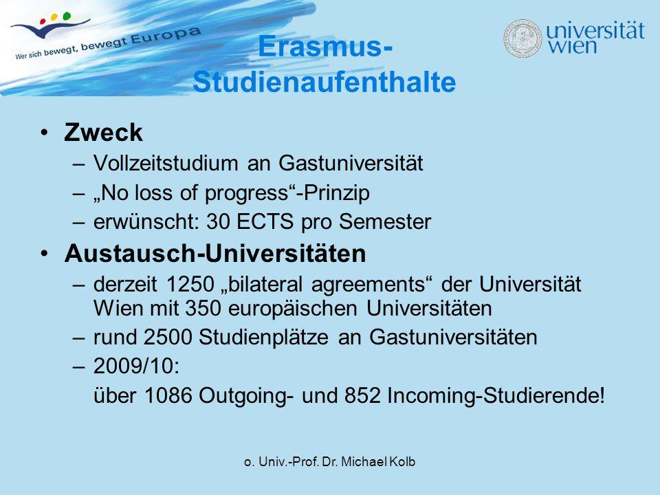 o. Univ.-Prof. Dr. Michael Kolb Erasmus- Studienaufenthalte Zweck –Vollzeitstudium an Gastuniversität –No loss of progress-Prinzip –erwünscht: 30 ECTS