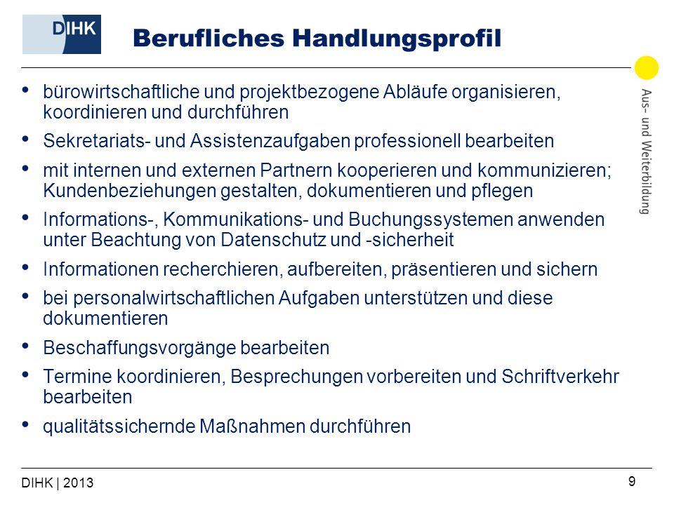 DIHK | 2013 9 Berufliches Handlungsprofil bürowirtschaftliche und projektbezogene Abläufe organisieren, koordinieren und durchführen Sekretariats- und