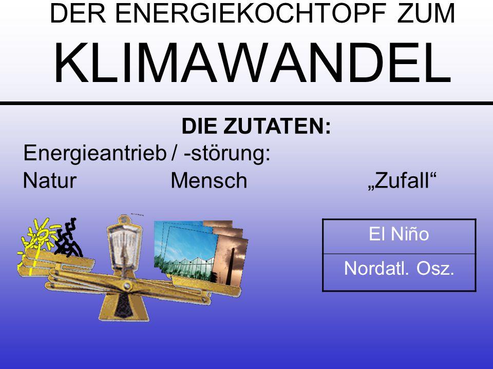 DER ENERGIEKOCHTOPF ZUM KLIMAWANDEL NaturMensch Zufall DIE ZUTATEN: Energieantrieb / -störung: El Niño Nordatl.