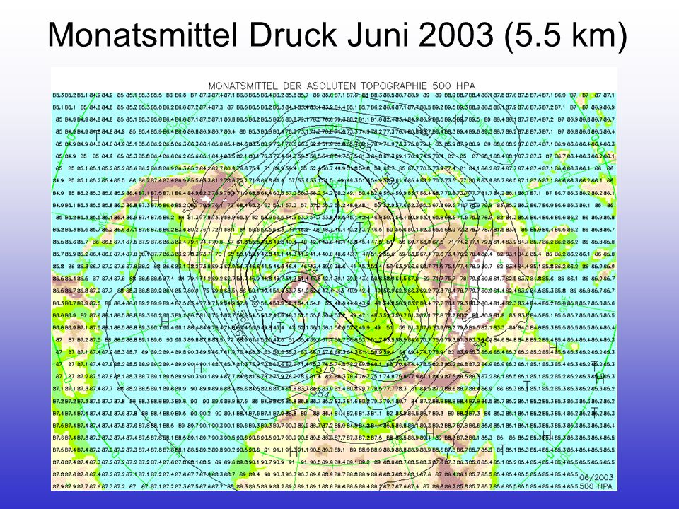 Monatsmittel Druck Juni 2003 (5.5 km)