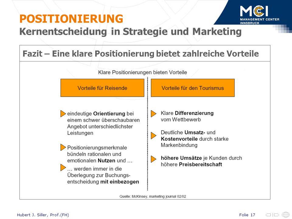 Folie 17Hubert J. Siller, Prof.(FH) Fazit – Eine klare Positionierung bietet zahlreiche Vorteile POSITIONIERUNG Kernentscheidung in Strategie und Mark