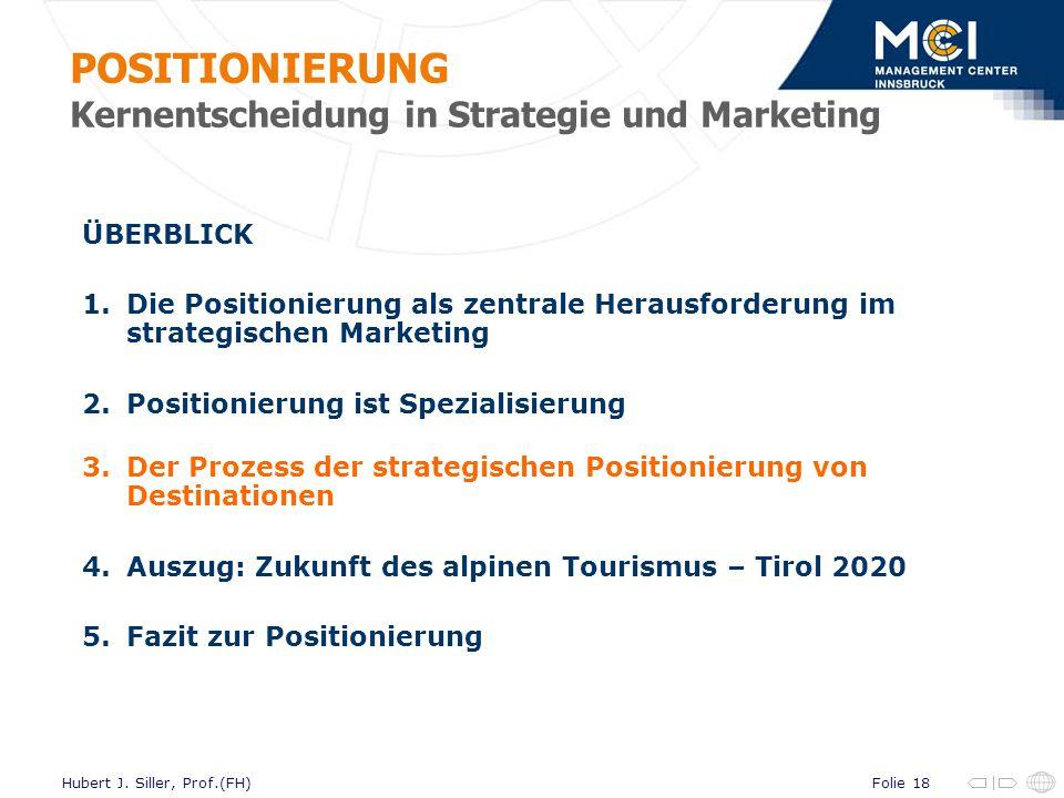 Folie 18Hubert J. Siller, Prof.(FH) ÜBERBLICK 1.Die Positionierung als zentrale Herausforderung im strategischen Marketing 2.Positionierung ist Spezia